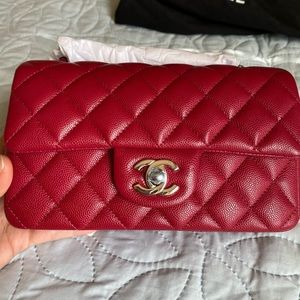 Chanel mini rectangular 18b red
